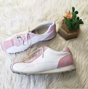 ⬇️TIMBERLAND whitre pink block lace up sneakers